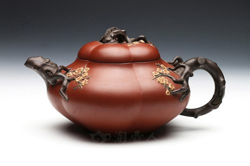 李宝珍制四色合梅(民国)壶