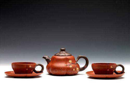 高建芳制五件寒梅茶具壶