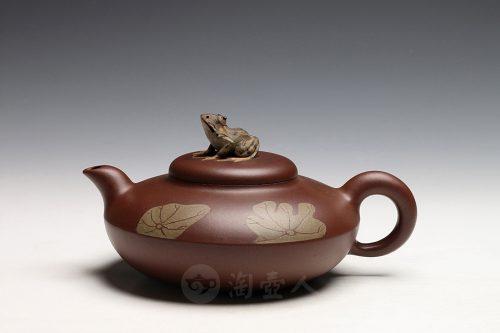 李涵鸣制荷叶青蛙(薄胎)壶