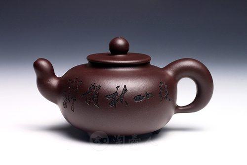 何叶制润鼎壶(木石刻绘)壶
