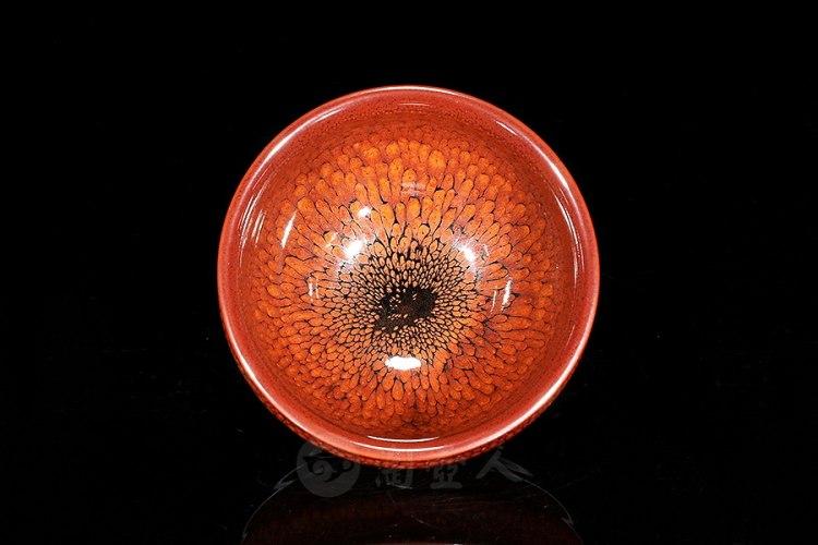 柿红鹧鸪斑方形盏