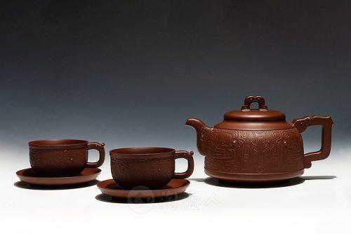 吴亚亦制青风印纹茶具壶