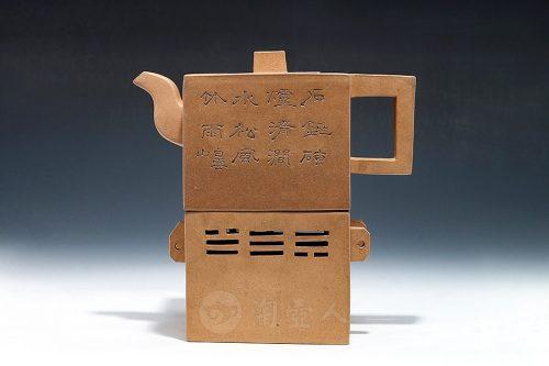 吴云根制段泥方壶(四方暖炉座式)壶